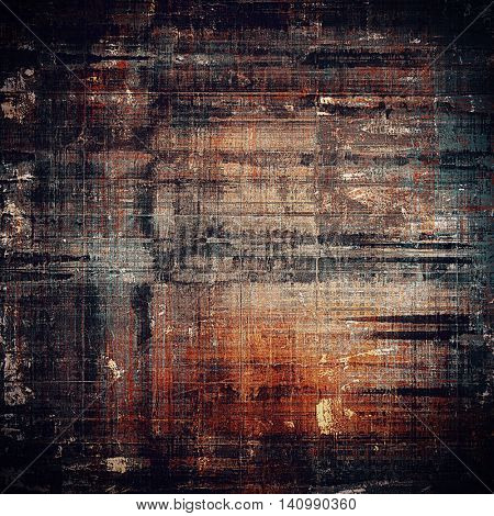 Retro style graphic composition on textured grunge background. With different color patterns: yellow (beige); brown; gray; red (orange); black
