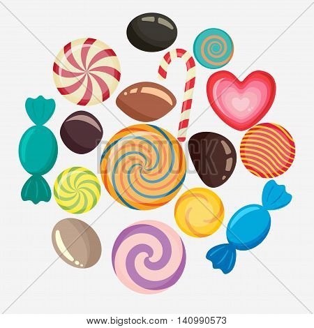 Sweet candy, caramel lollipop set, colored candies collection without wrapper, sugar sweet-stuff vector food, design element for christmas