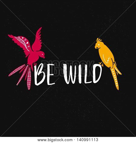 Be wild text with hand drawn parrots. Pink and yellow bird sitting on the text at black background