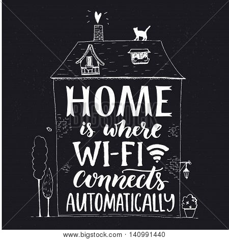 Home is where wifi connects automatically. Fun phrase about internet. Chalk lettering in hand drawn house with cat and trees on blackboard background.