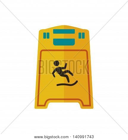 wet floor road sign prevention warning icon. Isolated and flat illustration. Vector graphic