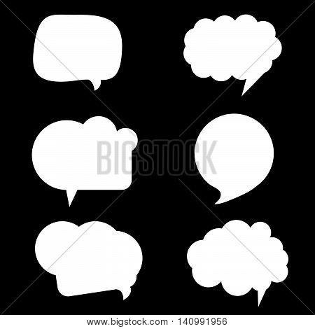 Speech Bubble Set In White Color Illustration On Blue