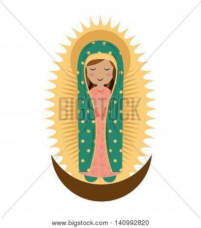 virgin mary cute icon vector illustration icon