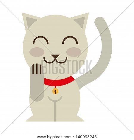 cat luck culture asian icon vector illustration icon