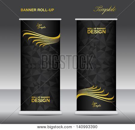 Gold and black Roll up banner template vector banner design stand black polygon background