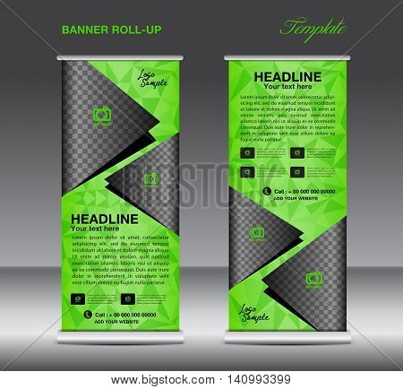 Blue Roll up banner template vector banner design stand flyer design polygon background