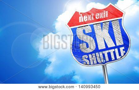 ski shuttle, 3D rendering, blue street sign