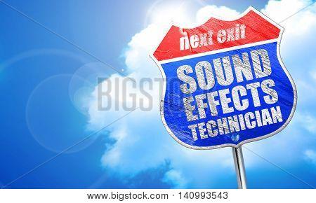 sound effects technician, 3D rendering, blue street sign