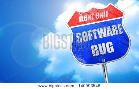 Software bug background, 3D rendering, blue street sign