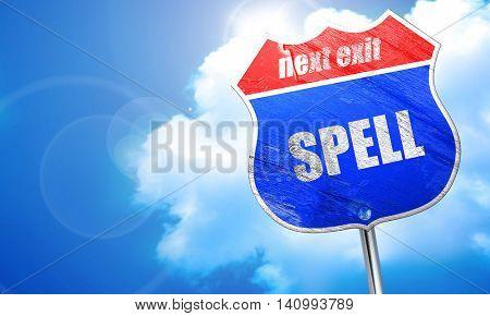 spell, 3D rendering, blue street sign