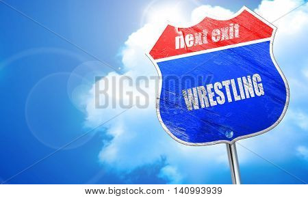 wrestling sign background, 3D rendering, blue street sign