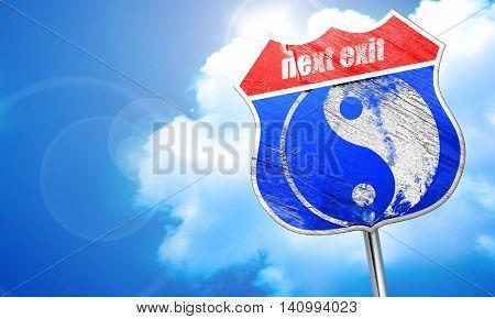 Ying yang symbol, 3D rendering, blue street sign