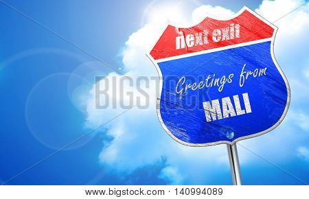 Greetings from mali, 3D rendering, blue street sign