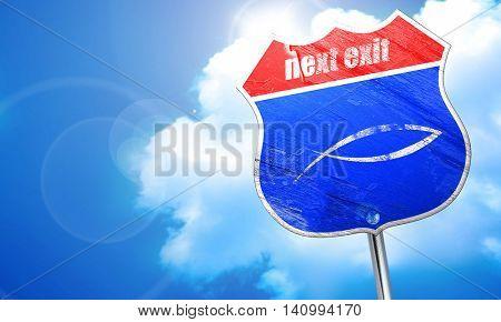 Christian fish symbol, 3D rendering, blue street sign