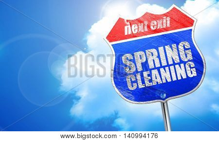 spring cleaning, 3D rendering, blue street sign