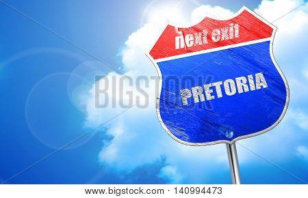 pretoria, 3D rendering, blue street sign