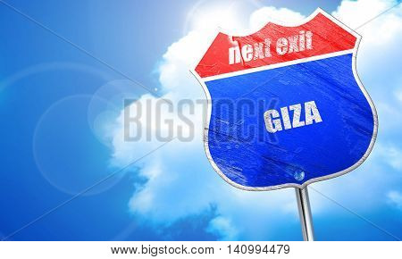 giza, 3D rendering, blue street sign