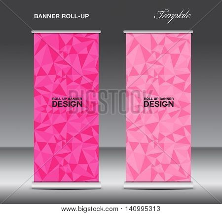 Pink Roll up banner template vector polygon background banner design