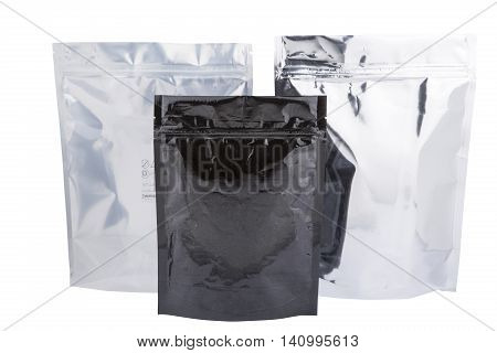 Three Foil package bag isolated on white with clipping path