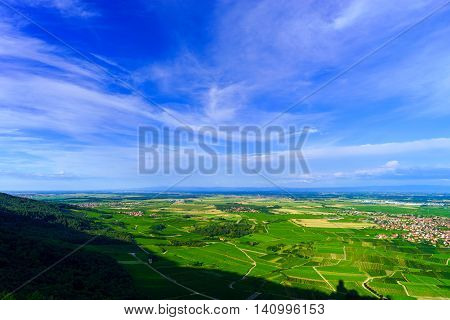 Majestic Overview To The Beautiful Valley From The Top Of The Hill