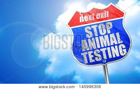 stop animal testing, 3D rendering, blue street sign