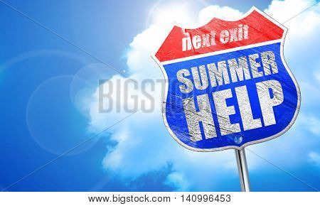 summer help, 3D rendering, blue street sign