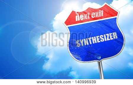 synthesizer, 3D rendering, blue street sign