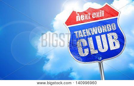 taekwondo club, 3D rendering, blue street sign