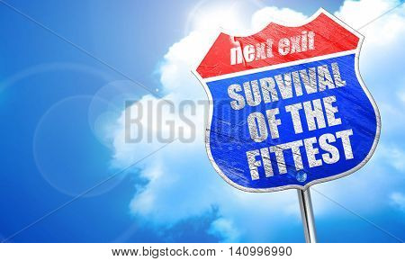 survival of the fittest, 3D rendering, blue street sign