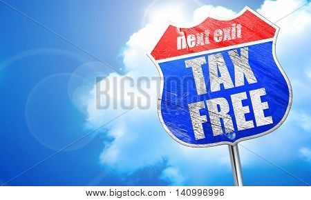 tax free sign, 3D rendering, blue street sign