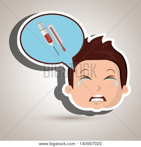child cry fear medicine vector illustration graphic
