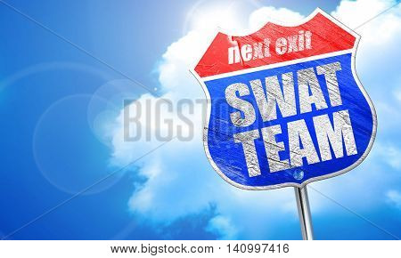swat team, 3D rendering, blue street sign