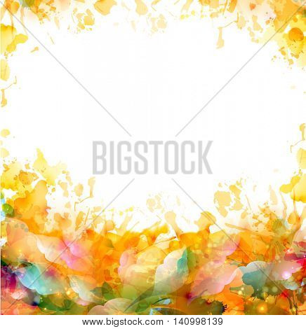 Abstract artistic color frame for background. Watercolor orange blots element. Abstraction design image.