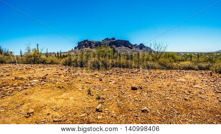 The town of Apache Junction at the foot of Superstition Mountain in Tonto National Forest in Arizona, USA