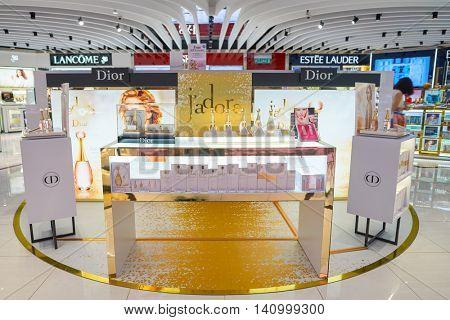 KUALA LUMPUR, MALAYSIA - CIRCA MAY, 2016: inside of a store at Kuala Lumpur International Airport. Kuala Lumpur International Airport (KLIA) is Malaysia's main international airport