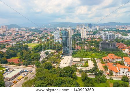 KUALA LUMPUR, MALAYSIA - CIRCA MAY, 2016: aerial view of Kuala Lumpur. Kuala Lumpur is the national capital and most populous global city of Malaysia.