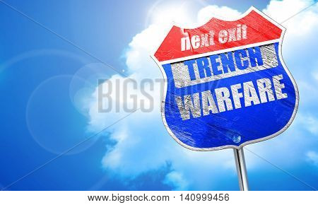 trench warfare sign, 3D rendering, blue street sign