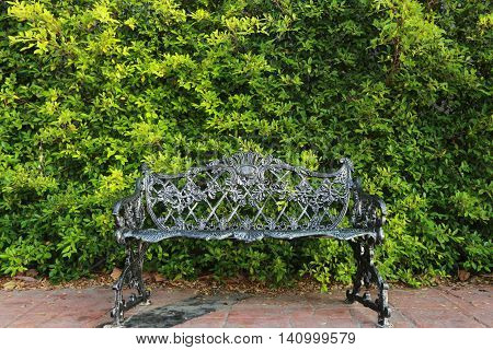 Vintage steel bench on the pavement with green hedge