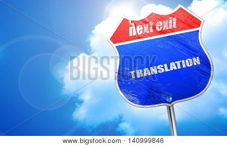 translation, 3D rendering, blue street sign