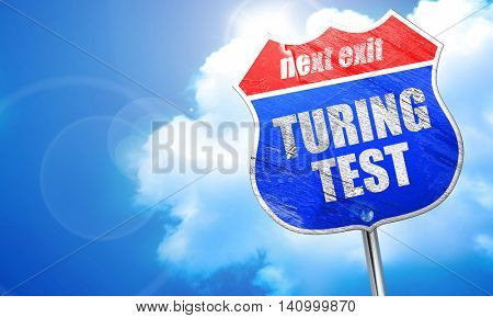 turing test, 3D rendering, blue street sign