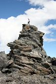image of shotokan  - alpine karate kid on a rock spire on mount lockhart - JPG