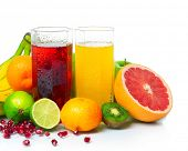image of fruit-juice  - Wet ripe fruits with juice glasses on white background - JPG