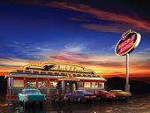 stock photo of diners  - Retro American diner at dusk - JPG