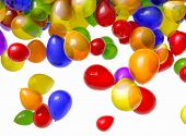 1080 HD video of multi-colored balloons falling from above over a white background. Includes alpha m