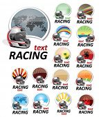 set of racing signs
