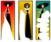 image of matron  - Illustration of three women in dresses on a colours background - JPG