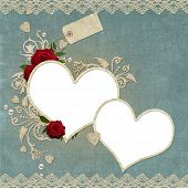stock photo of red rose flower  - Vintage elegant hearts frame with roses lace and pearls - JPG