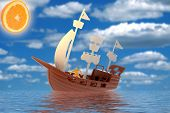 Plastic Toy Pirate Ship In Water With Reflection poster