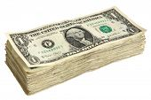 stock photo of money stack  - Stack of One Dollar Bills - JPG