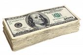 stock photo of money stack  - Stack of One Hundred Dollar Bills - JPG